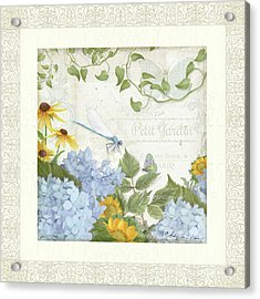 Acrylic Print featuring the painting Le Petit Jardin 2 - Garden Floral W Dragonfly, Butterfly, Daisies And Blue Hydrangeas W Border by Audrey Jeanne Roberts