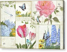 Le Petit Jardin - Collage Garden Floral W Butterflies, Dragonflies And Birds Acrylic Print by Audrey Jeanne Roberts