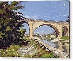 Le Pont Canal A Briare Acrylic Print by Henri Joseph Harpignies
