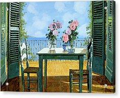 Le Rose E Il Balcone Acrylic Print by Guido Borelli