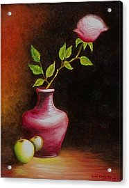 Acrylic Print featuring the painting Le Rose by Gene Gregory