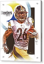 Le Veon Bell Pittsburgh Steelers Oil Art Acrylic Print by Joe Hamilton