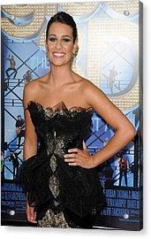Lea Michele Wearing A Marchesa Dress Acrylic Print by Everett
