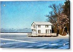 Leacock Boathouse In Winter Acrylic Print