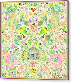 Leaf And Flower And Heart Pattern  Acrylic Print