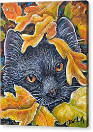Leaf Jumper Acrylic Print by Gail Butler