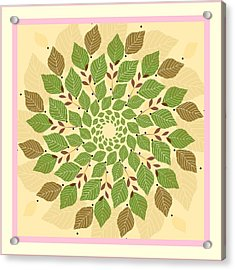 Leaf Mandala Acrylic Print by Rosemary Babikan