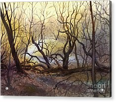Acrylic Print featuring the painting Leafless Trees by Sergey Zhiboedov