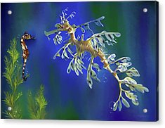 Acrylic Print featuring the digital art Leafy Sea Dragon by Thanh Thuy Nguyen
