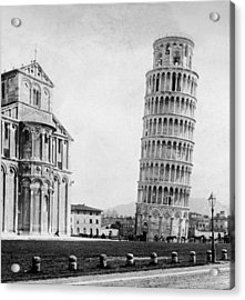Leaning Tower Of Pisa Italy - C 1902  Acrylic Print by International  Images