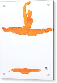 Leap Brush Orange 1 Acrylic Print by Shungaboy X