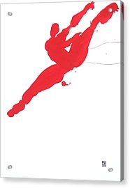 Leap Brush Red 3 Acrylic Print by Shungaboy X