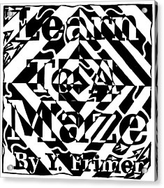 Learn To A Maze Book Cover 1 Acrylic Print by Yonatan Frimer Maze Artist