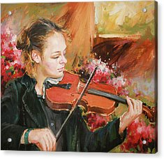 Learning The Violin Acrylic Print by Conor McGuire
