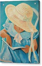 Learning To Read Acrylic Print by Lisa Konkol
