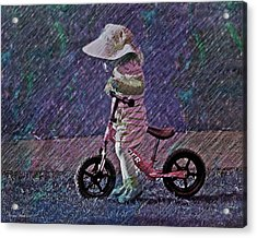 Learning To Ride Acrylic Print by Suzanne Stout