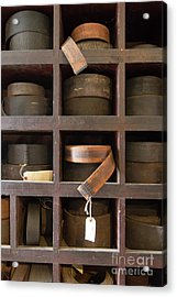 Acrylic Print featuring the photograph Leather Belt Storage At An Old Mill by Edward Fielding