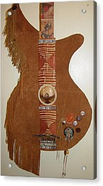 Leather Guitar Acrylic Print by Lorraine Stone