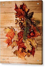 Acrylic Print featuring the photograph Leaves And Nuts And Red Ornament by Rebecca Cozart