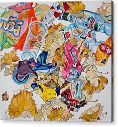 Leaves And Rubbish Acrylic Print by Vitali Komarov