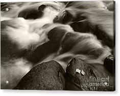 Leaves And Waterfall Acrylic Print by Timothy Johnson