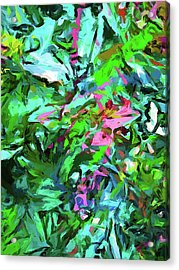 Leaves Buds Green Pink Acrylic Print
