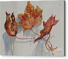 Acrylic Print featuring the painting Leaves Of Fall by Mary Haley-Rocks
