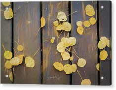 Leaves On Planks Acrylic Print