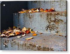Leaves On The Stairs Acrylic Print