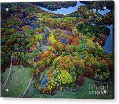 Lebanon Hills Park Eagan Mn Autumn II By Drone Acrylic Print