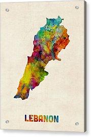Lebanon Watercolor Map Acrylic Print