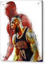 Lebron James 23 1 Cleveland Cavs Digital Painting Acrylic Print by David Haskett
