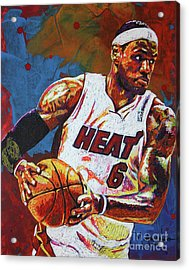 Lebron James 3 Acrylic Print by Maria Arango