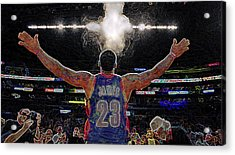 Lebron James Chalk Toss Basketball Art Landscape Painting Acrylic Print by Andres Ramos