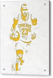 Lebron James Cleveland Cavaliers Pixel Art 5 Acrylic Print by Joe Hamilton