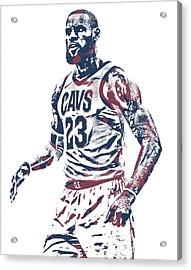 Lebron James Cleveland Cavaliers Pixel Art 51 Acrylic Print