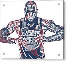 Lebron James Cleveland Cavaliers Pixel Art 54 Acrylic Print