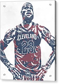 Lebron James Cleveland Cavaliers Pixel Art 62 Acrylic Print