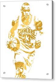 Lebron James Cleveland Cavaliers Pixel Art 7 Acrylic Print by Joe Hamilton