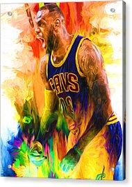 Lebron James Cleveland Cavs Digital Painting 2 Acrylic Print