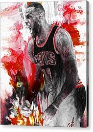Lebron James Cleveland Cavs Digital Painting Acrylic Print