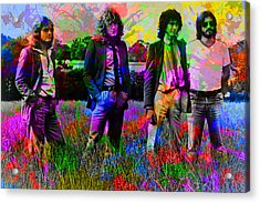 Led Zeppelin Band Portrait Paint Splatters Pop Art Acrylic Print