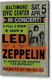 Led Zeppelin Live In Concert At The Baltimore Civic Center Poster Acrylic Print by R Muirhead Art
