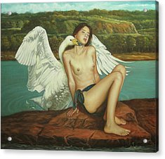 Leda And The Swan - Passionate Acrylic Print by Giovanni Rapiti