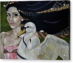 Leda And The Swan Acrylic Print by Victoria Dietz