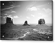 Left And Right Mittens And Merrick Butte Black And White Acrylic Print by Ryan Kelly