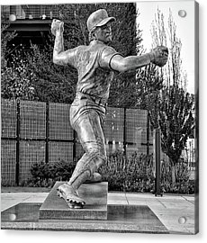 Lefty - Phillie Steve Carlton In Black And White Acrylic Print by Bill Cannon