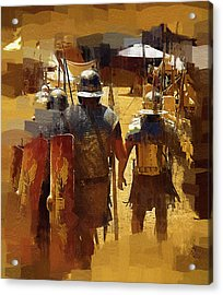 Legionnaires Marching To Camp Acrylic Print by Clarence Alford