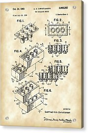 Lego Patent 1958 - Vintage Acrylic Print by Stephen Younts