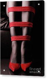 Legs In Red Ropes Acrylic Print by Oleksiy Maksymenko
